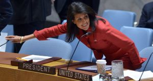 US ambassador to the UN and UN Security Council president Nikki Haley at a United Nations Security Council meeting on Syria in New York last week. Photograph: Jewel Samad/AFP/Getty Images