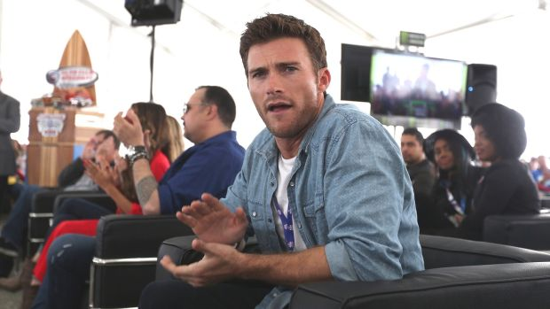 FONTANA, CA - MARCH 26: Actor Scott Eastwood participates in the drivers meeting for the Monster Energy NASCAR Cup Series Auto Club 400 at Auto Club Speedway on March 26, 2017 in Fontana, California. (Photo by Matt Sullivan/Getty Images)