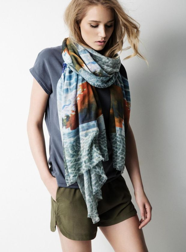 St Stephen's Green Cobbles scarf - at Avoca 60; navy top Yayawomen, Avoca 59.95, green shorts Penneys 5
