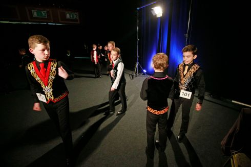 Competing boys waiting backstage before their routines.  Photograph Nick Bradshaw