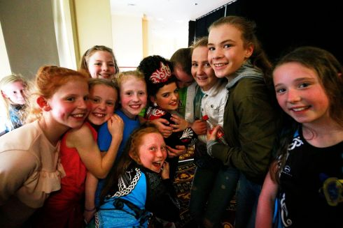 Rachel Kennedy from Limerick is  congratulated by her friends after her performance.  Photograph Nick Bradshaw