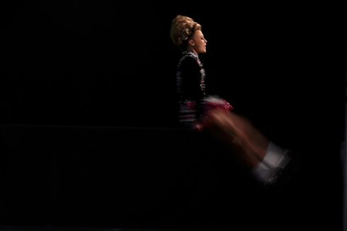 A competitor performs on stage in the under 13s category. Photograph: Reuters/Clodagh Kilcoyne