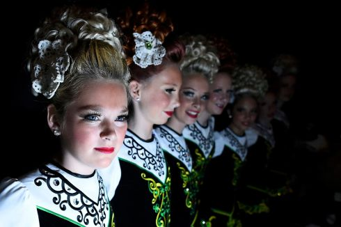 Dancers wait backstage before performing. Photograph: Reuters/Clodagh Kilcoyne