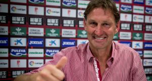 Former Arsenal and England captain Tony Adams gives a thumbs up after being presented as the new head coach of Granada. Photo: Pepe Marin/Reuters