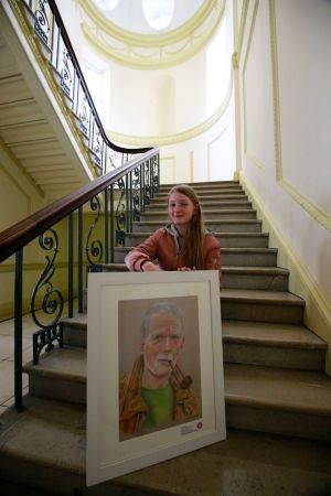 Nicole Forster from Multyfarnham, Co Westmeath, with her portrait of her dad.  Nicole was 3rd in the 14/15 category.  Photograph: Nick Bradshaw
