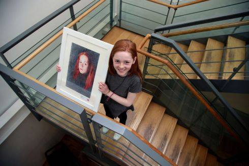 Ava Henson, Glasthule, Dublin and her self-portrait, which took 1st place in the 9/11 category. Photograph: Nick Bradshaw