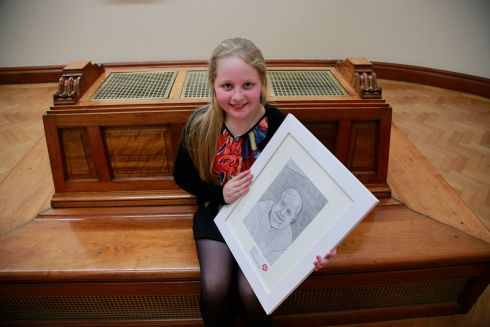 Rachel Glynn, from Four Mile House, Roscommon, with her portrait called My Grandad. Rachel took 2nd place in the 9/11 category.  Photograph: Nick Bradshaw