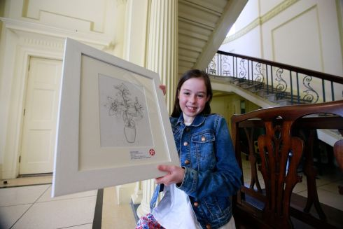 Ruth Donoghue, Tarmonbarry, Roscommon, with her Tiger Lily in pencil artwork.  Ruth came 3rd in the 9/11 category.  Photograph: Nick Bradshaw