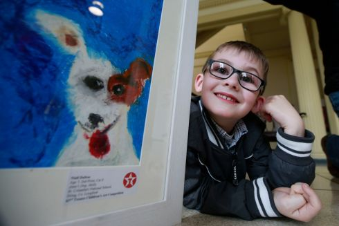 Niall Dalton, from Dring in Longford, with his painting Anne's Dog, Molly.  Niall was 2nd in the 7-8 category.  Photograph: Nick Bradshaw