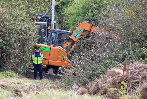 GRISLY DISCOVERY: Gardai at the scene in Tolka Valley Park, Finglas this afternoon, where human remains were discovered during the search for the body of James Nolan whose dismembered arm was found on Dollymount Beach in 2011.  Photograph: Colin Keegan/Collins