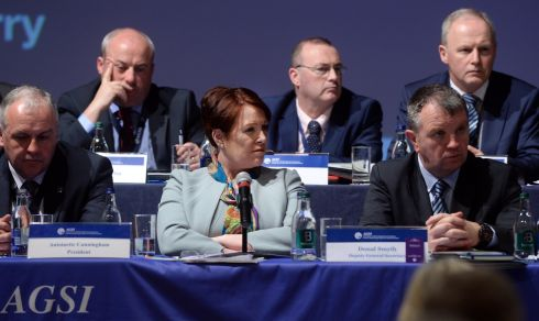 TOP BRASS: Garda Commissioner Noirin O'Sullivan at the AGSI conference in Killarney. Photograph: Don MacMonagle