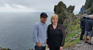 Star Wars: The Force Awakens director  JJ Abrams with Minister for Arts, Heritage and the Gaeltacht Heather Humphreys on Skellig Michael during the September  2015 shoot.