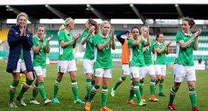 The Irish players acknowledge the crowd after the game in Tallaght. Photograph: Ryan Byrne/Inpho