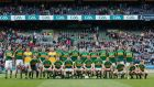 The Kerry panel before their league final win over Dublin in Croke Park. Photograph: Ryan Byrne/Inpho