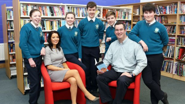 Shane Moran, psychologist and school chaplain, with staff and students at Largy College, Clones, Co Monaghan.
