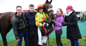 Ger Lawless of Ballydonagh Stables with sons Seán and Brian, daughter Katie and wife Annemarie on the day Brian won his first point to point with Delgany Lass. Photograph: Healy Racing