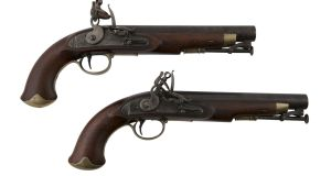 A pair of Irish George III flintlock cavalry pistols by Rigby, estimated at €3,000