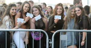 Bronagh Breen, Sara Cuddy, Tyrah Duff, Anna Healy, Caoimhe Flynn, and Emily Gowing from Portlaoise are pictured queuing for the Ed Sheeran concert in the 3Arena, Dublin. Photograph: Aidan Crawley