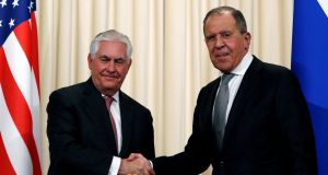 Russian foreign minister Sergei Lavrov with US Secretary of State Rex Tillerson following their meeting in Moscow. Photograph: Sergei Karpukhin/Reuters