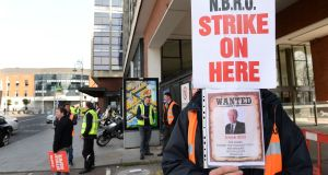 Acting Bus Éireann chief executive Ray Hernan said unions would not lift pickets until this was received and services would not resume before Friday morning at the earliest. Photograph: Dara Mac Donaill