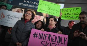 An anti-brutality demonstration at Chicago's O'Hare International Airport that followed the forced removal of a passenger from an overbooked United flight.