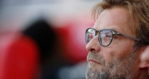 Liverpool manager Jurgen Klopp was proud of his former players on Wednesday night. Photograph: Reuters