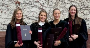 Irish students graduate as doctors of veterinary medicine in Budapest (from left):  Franzi Kluge, Sweden; Serena Iceton, Tara, Co Meath; Aoife Kinston, Skibbereen, Co Cork and Delf Jansson, Navan, Co Meath with their  doctorates in veterinary medicine.