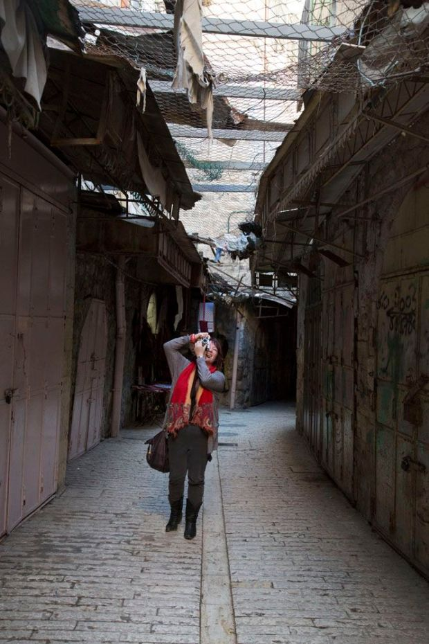 Eimear McBride in the market place in Hebron. Photograph: Oren Ziv/ActiveStills