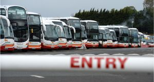 Unions are to lift their pickets on Bus Éireann depots pending a ballot on the Labour Court recommendations. Photograph: Dara Mac Donaill/The Irish Times
