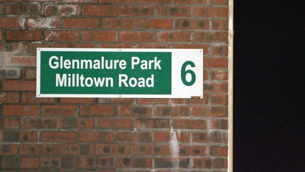 The road sign from Shamrock Rovers' old stadium in Milltown now on the wall of the new stadium in Tallaght. Photograph: Donall Farmer/Inpho