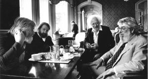 The Dubliners members John Sheahan Kenna, Barney McKenna, Eamonn Campbell and Ronnie Drew in the Shelbourne Hotel in 1992. Photograph: Pat Langan