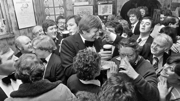 The late Ireland rugby player Moss Keane and publican Dessie Hynes in O'Donoghue's pub in the 1980s. Photograph: Eric Luke