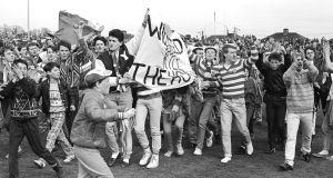 Shamrock Rovers supporters demonstrate at half-time during their last match at Milltown in April, 1987. Photograph: Eddie Kelly