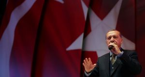 Turkish president Tayyip Erdogan makes a speech during an event ahead of the constitutional referendum in Istanbul. Photograph: Reuters