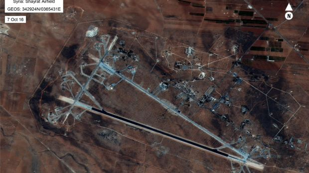 The Shayrat airfield in Syria. Donald Trump ordered a massive military strike on the Syrian air base on April 6th. Photograph: AFP/US Department of Defense