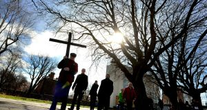 Way of the Cross procession in 2016: on Good Friday a Way of the Cross procession will go from the Wellington monument to the Papal Cross in Dublin's Phoenix Park. Photograph: Cyril Byrne