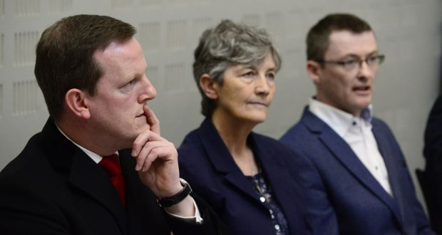 Robust questioning: Members of Dáil Public Accounts committee, Alan Farrell, Catherine Connolly and David Cullinane. Photograph: Cyril Byrne