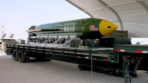 The GBU-43/B Massive Ordnance Air Blast – the largest non-nuclear bomb in the US arsenal was dropped on Afghanistan in an area with strong links to Islamic State. Photograph: Elgin Air Force Base/Reuters