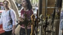Crucifixes for sale in a Cairo shop. Christians are a significant minority in Egypt, as 10 per cent of the population are Coptic Orthodox. Photograph: Khaled Desouki/AFP