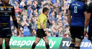 Referee Nigel Owens during Leinster's quarter-final win over Wasps. Photograph: Inpho