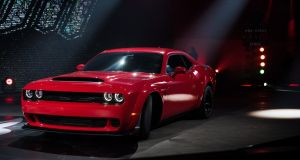 The Dodge Challenger SRT Demon can do 0-100km/h in a ridiculously quick 2.5 seconds. Photograph: Julie Jacobson