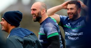 John Muldoon and Andrew Browne during Connacht training earlier this week. Photograph: James Crombie/Inpho