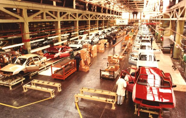 Ford Sierras on the line in Cork: in 1982 the firm invested £10m in order to produce the firm's new family car but it was not enough to save the plant from closure