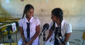 A Sangavai and L Sharaniya of Mallavi Central College. Photograph: Paul Loughran