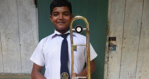 Trombone player Dhanushka. Photograph: Joseph O'Connor