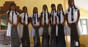 Girls from Mallavi Central College, one of the schools in the north where the Music Project teaches. Photograph: Joseph O'Connor