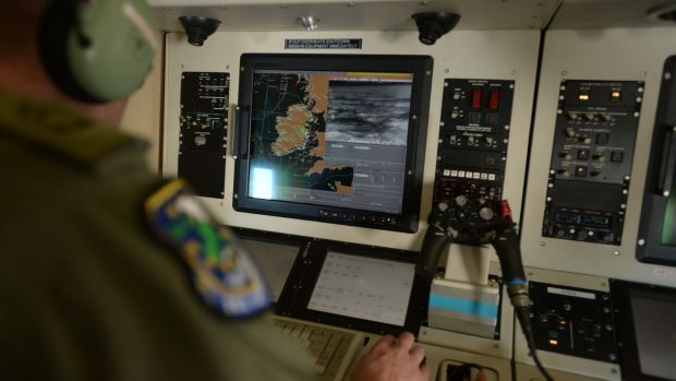Corporal Paul McGee operating The Casa's radar and camera system. Photograph: Jamie Martin/Irish Air Corps