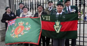 British veterans of the Troubles hold flags as they protest at the city hall in Belfast. Photograph: Paul Faith/AFP/Getty Images