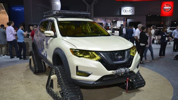 Nissan's X-Trail with tank tracks instead of wheels at the New York auto show