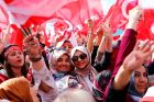 Supporters of Turkish president Tayyip Erdogan at a   Yes rally for the upcoming referendum in Izmir. Phtograph: Umit Bektas/Reuters